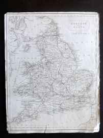 Becker C1840 Antique Map. England and Wales